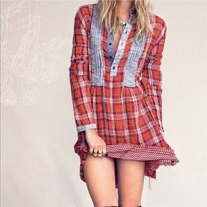 RARE Free People plaid tunic top dress